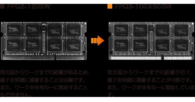 ■FPQ2-120SW因为从发光表面到工件有一段距离,所以很难清晰地显示端子的图像。 另外,不可能均匀地照射整个作品。 →■FPQ3-100X50SW从发光表面到工件的距离很短,并且可以清晰地显示端子图像。 另外,整个作品被均匀地照射。 (数字)